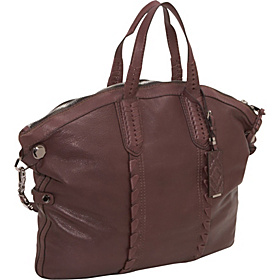 Cassie Calfskin Whipstich Convertible Zip Top Tote Coffee