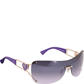 Heart Rimless Shield Sunglasses Rose Gold Purple