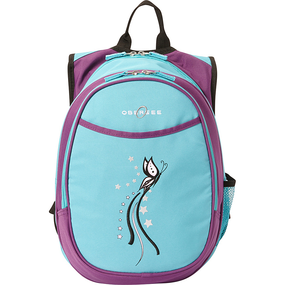 "Obersee Kids Pre-School Butterfly Backpack with Lunch Cooler - 14.5"" Turquoise Butterfly - Obersee Everyday Backpacks"