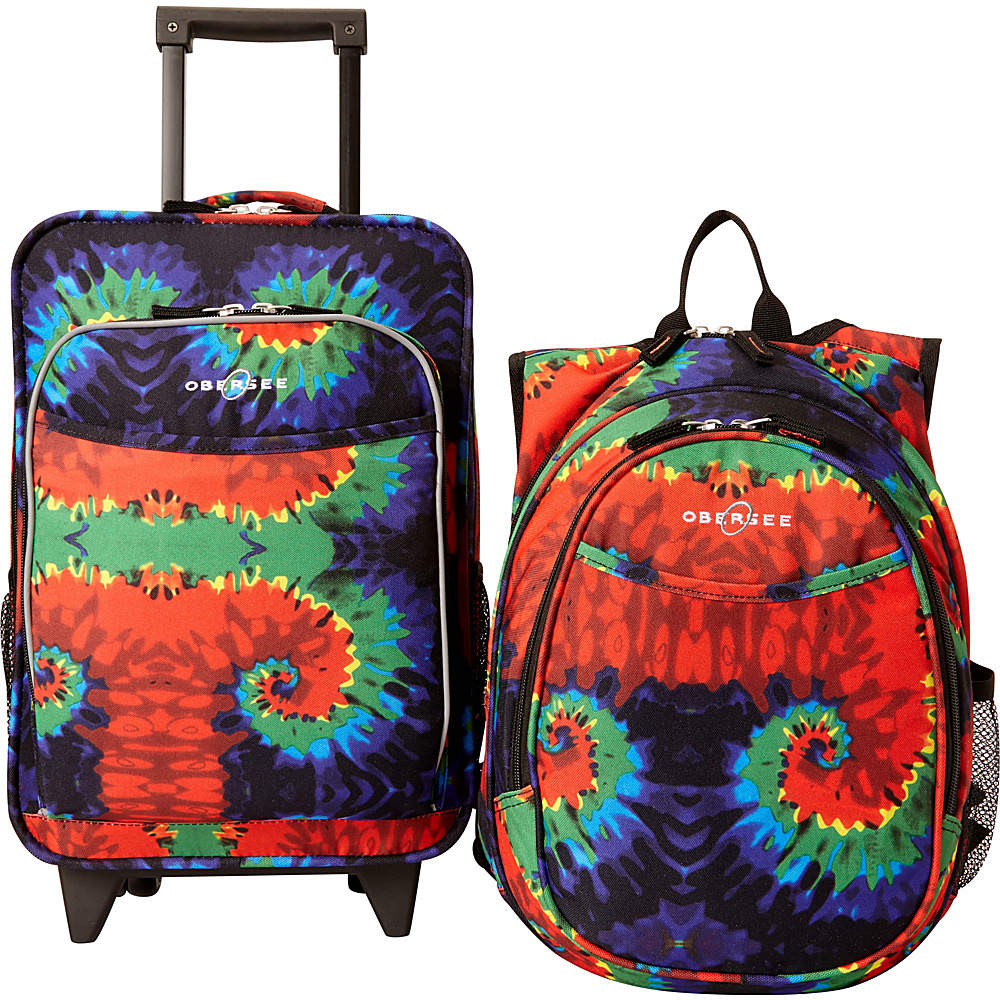 Obersee Kids Tie Dye Luggage and Backpack Set With Integrated Cooler Tie Dye Obersee Softside Carry On