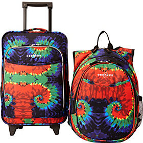 O3 Kids Tie Dye Luggage and Backpack Set With Integrated Cooler Tie Dye