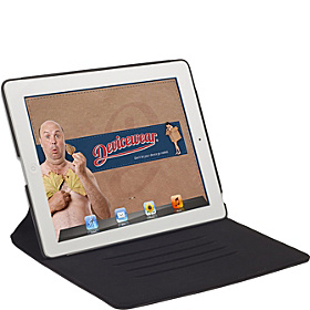 The Ridge: for iPad 3: Slim Vegan Leather Case w/ Stand Black
