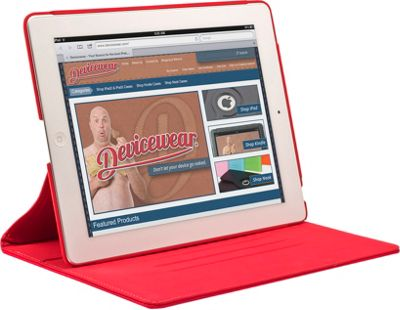 Devicewear The Ridge: for iPad 3: Slim Vegan Leather Case w/ Stand Red - Devicewear Electronic Cases