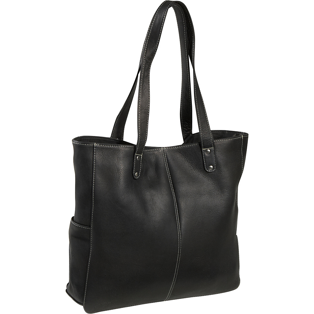 Le Donne Leather Double Strap Rivet Tote - Black - Handbags, Leather Handbags