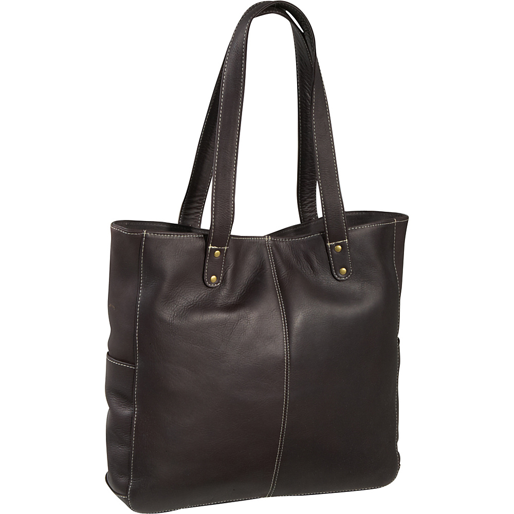 Le Donne Leather Double Strap Rivet Tote - Caf - Handbags, Leather Handbags