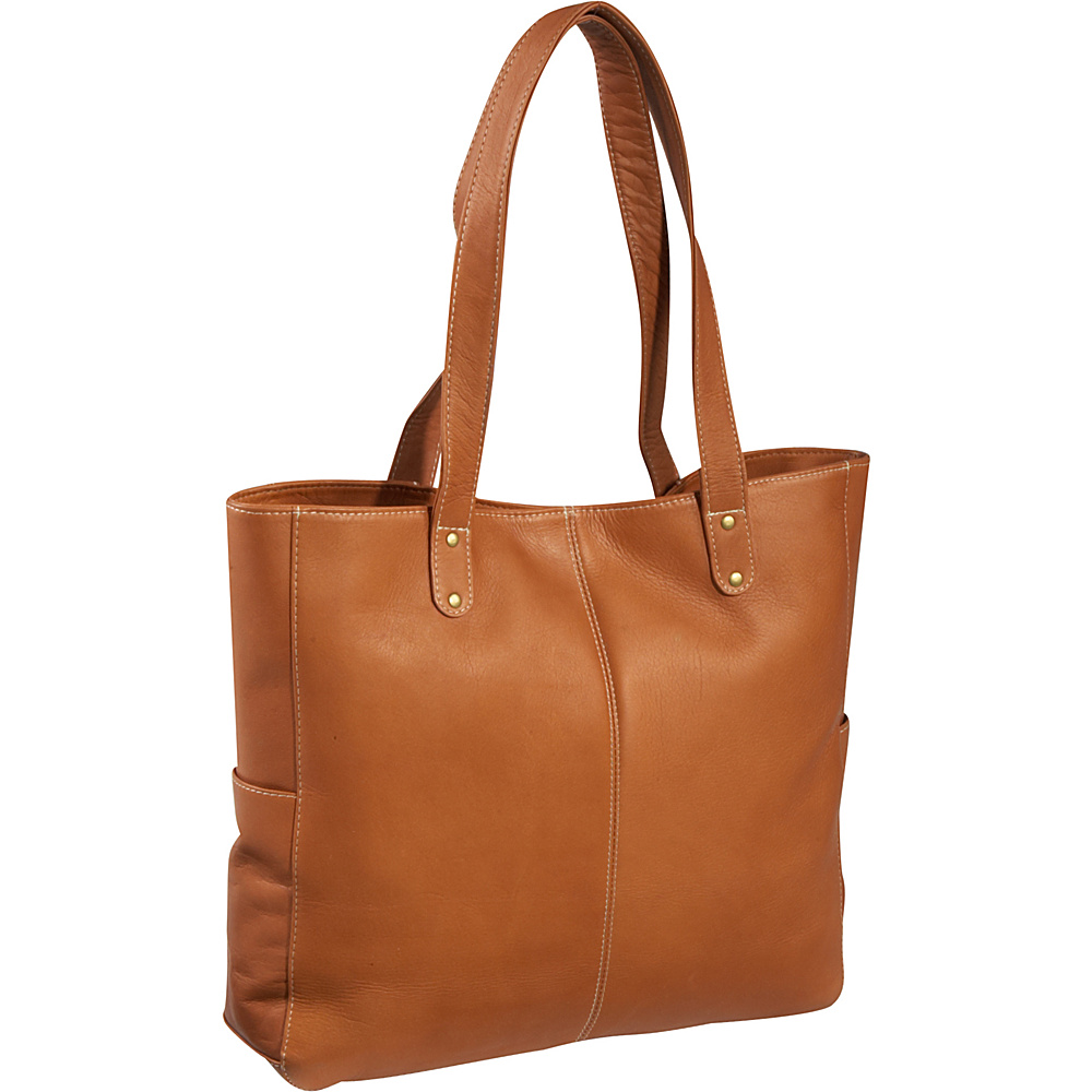 Le Donne Leather Double Strap Rivet Tote - Tan - Handbags, Leather Handbags