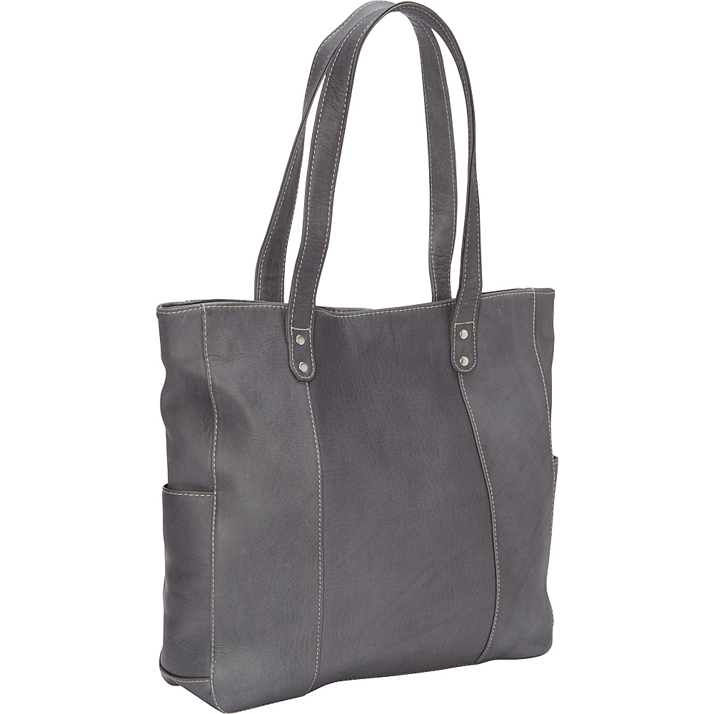 Le Donne Leather Double Strap Rivet Tote Gray - Le Donne Leather Leather Handbags - Handbags, Leather Handbags