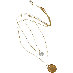Double Strand Double Disc Necklace Mixed Gold