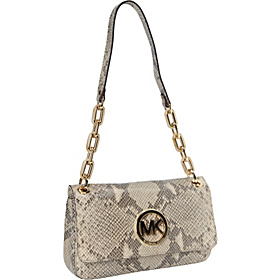Fulton Small Shoulder Flap- Embossed Python Angora