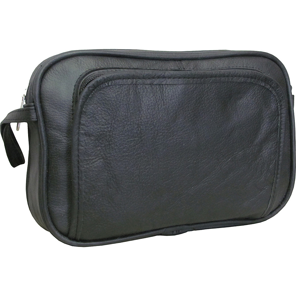 AmeriLeather Leather Travel Toiletry Bag - Black - Travel Accessories, Toiletry Kits