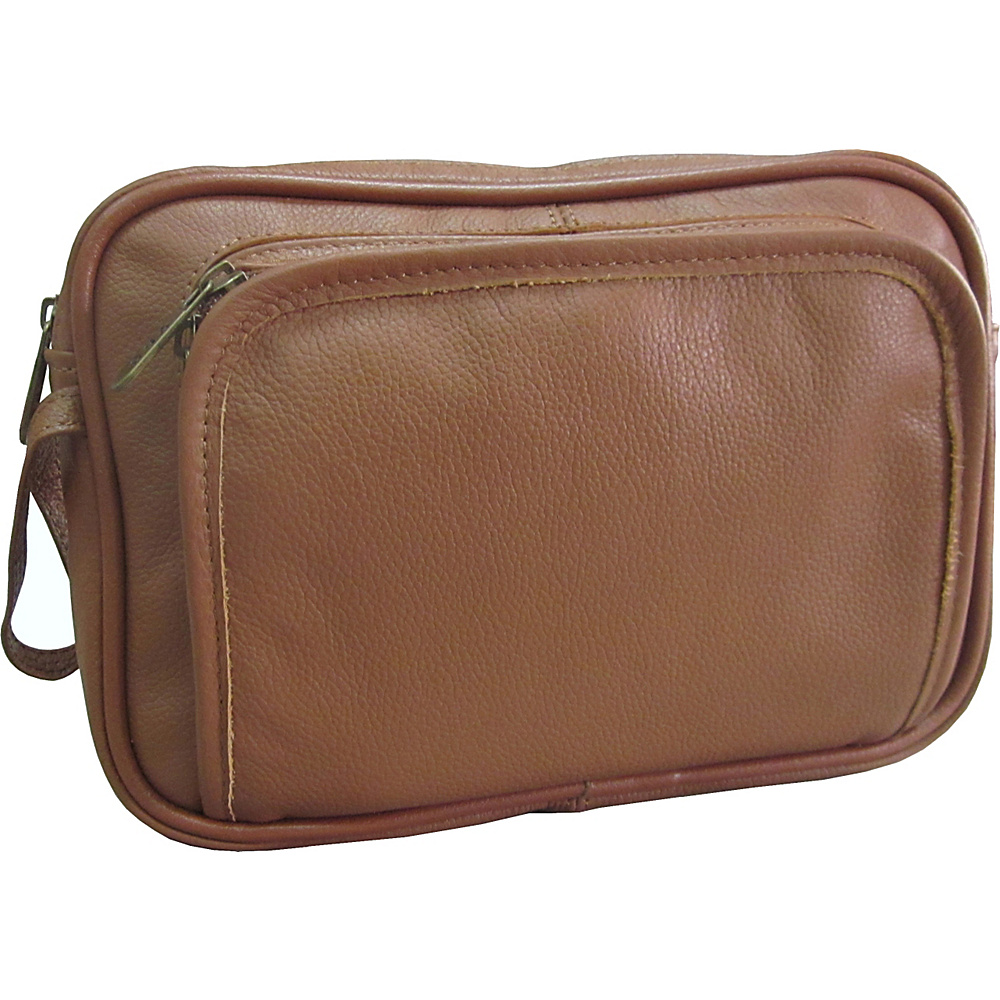 AmeriLeather Leather Travel Toiletry Bag - Brown - Travel Accessories, Toiletry Kits