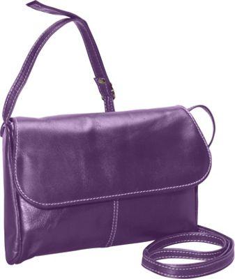 David King & Co. Florentine Flap Front Handbag Purple - David King & Co. Leather Handbags