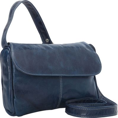 David King & Co. Florentine Flap Front Handbag Blue - David King & Co. Leather Handbags