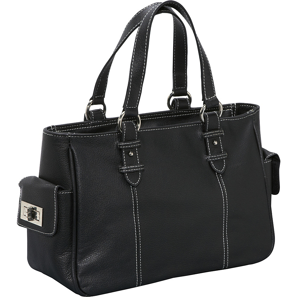 AmeriLeather Sophisticated Leather Satchel - Black - Handbags, Leather Handbags