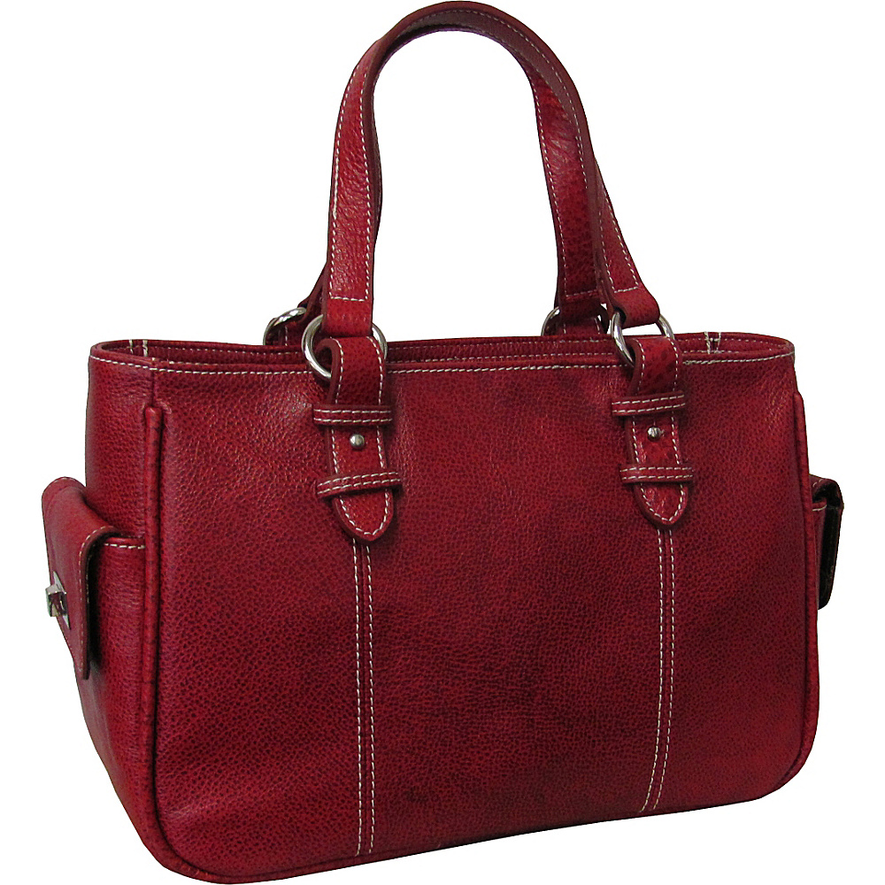 AmeriLeather Sophisticated Leather Satchel - Burgundy - Handbags, Leather Handbags