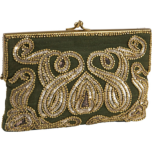 Moyna Handbags Beaded Evening Bag Olive