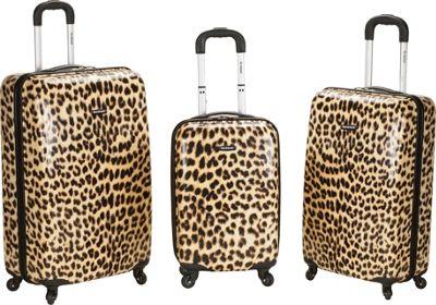 Rockland Luggage Leopard 3 Piece Hardside Spinner Set Leopard - Rockland Luggage Luggage Sets