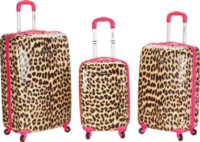 Rockland Luggage Leopard 3 Piece Hardside Spinner Set Pink Leopard - Rockland Luggage Luggage Sets