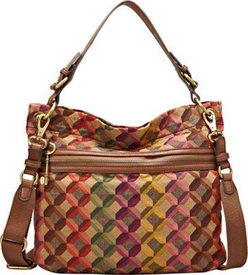 Fossil Explorer Tapestry Hobo Multi Fossil Fabric Handbags