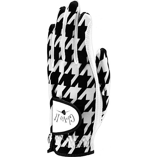Glove It B/W Houndstooth Glove Black Left Hand Large - Glove It Golf Bags