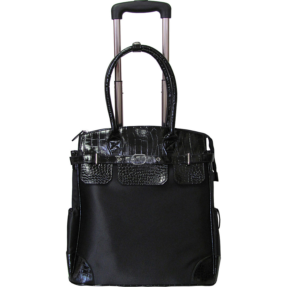 AmeriLeather Deluxe Skylar Women's Large Rolling Laptop Tote Black - AmeriLeather Wheeled Business Cases