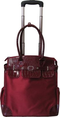AmeriLeather Deluxe Skylar Women's Large Rolling Laptop Tote Red - AmeriLeather Wheeled Business Cases