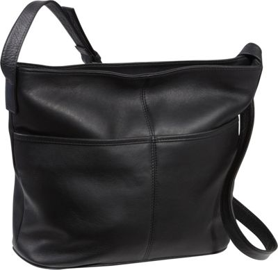 Le Donne Leather Two Slip Pocket Hobo Black - Le Donne Leather Leather Handbags