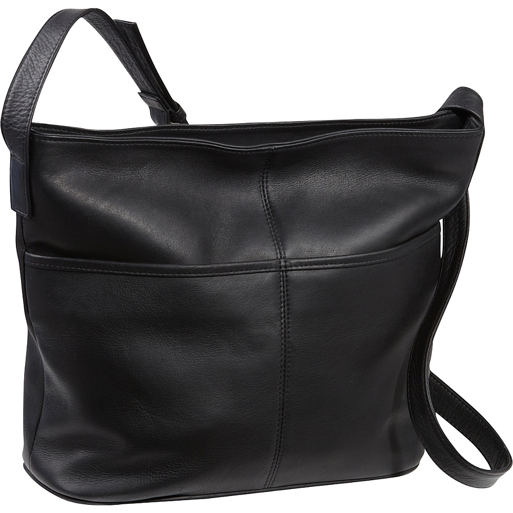 Le Donne Leather Two Slip Pocket Hobo Black - Le Donne Leather Leather Handbags - Handbags, Leather Handbags