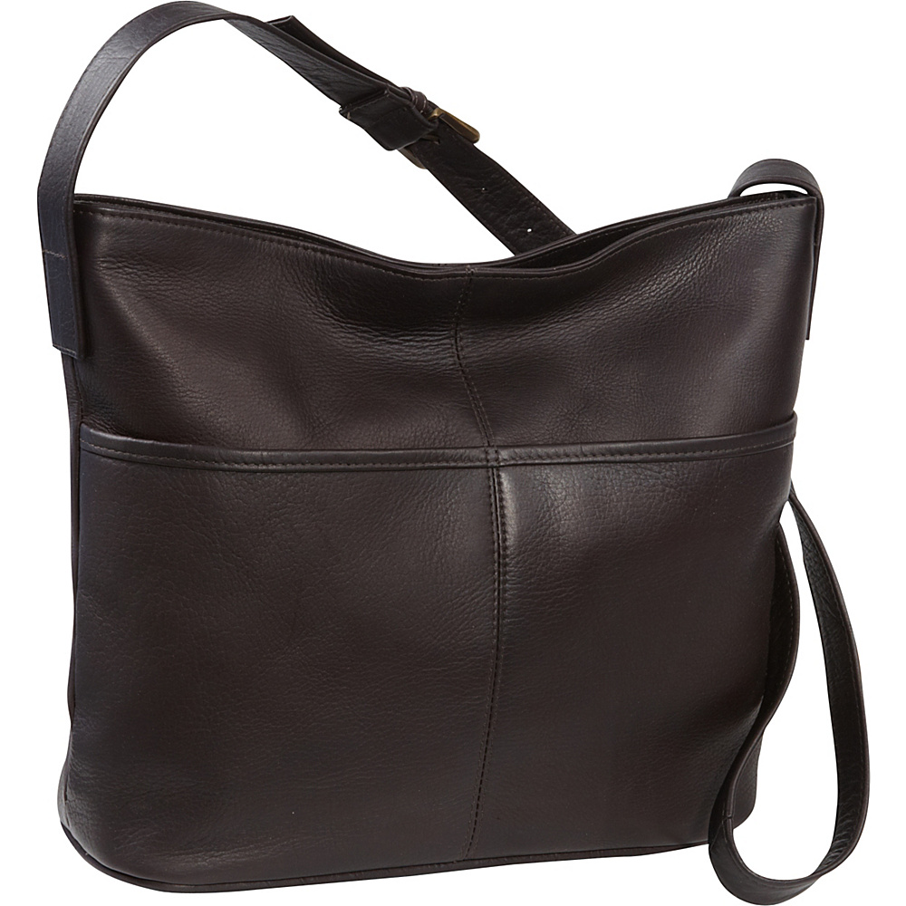 Le Donne Leather Two Slip Pocket Hobo Cafe - Le Donne Leather Leather Handbags - Handbags, Leather Handbags