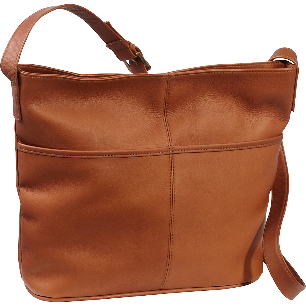 Le Donne Leather Two Slip Pocket Hobo Tan - Le Donne Leather Leather Handbags - Handbags, Leather Handbags