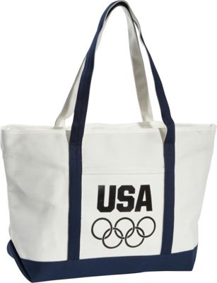 Extended Exposure Olympic Games Natural/Navy Large Heavy Cotton Canvas Boat Tote