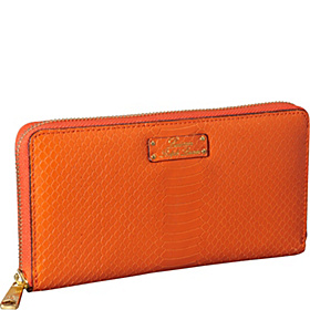 Banbury Solid Snake Zip Around Wallet Orange