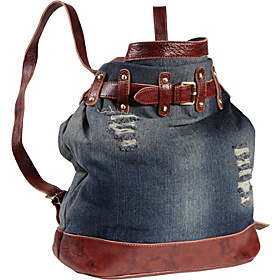 Damian Ripped Leather Handbag/Backpack  Washed Denim