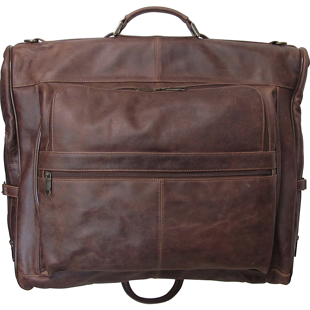 AmeriLeather Leather Three-suit Garment Bag Vintage Terazzo Brown - AmeriLeather Garment Bags - Luggage, Garment Bags
