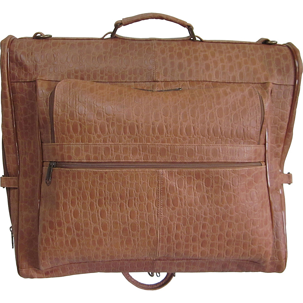 AmeriLeather Leather Three-suit Garment Bag Brown Pebble - AmeriLeather Garment Bags - Luggage, Garment Bags