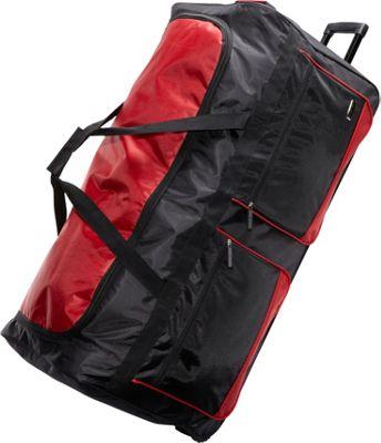 Geoffrey Beene Luggage Deluxe 36 inch Wheeled Duffel Black with red trim - Geoffrey Beene Luggage Rolling Duffels