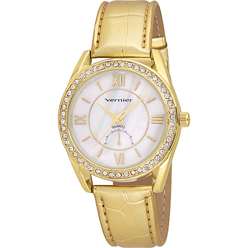 Vernier Ladies Beautiful Mother-Of-Pearl Dial Metallic Polyurethane Strap Quartz Watch Yellow Gold - Vernier Watches