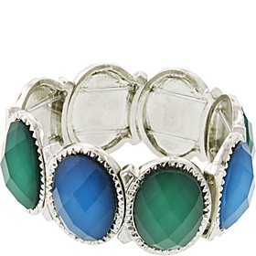 Silver Tone Green/Blue Oval Stretch Bracelet Green and Silver