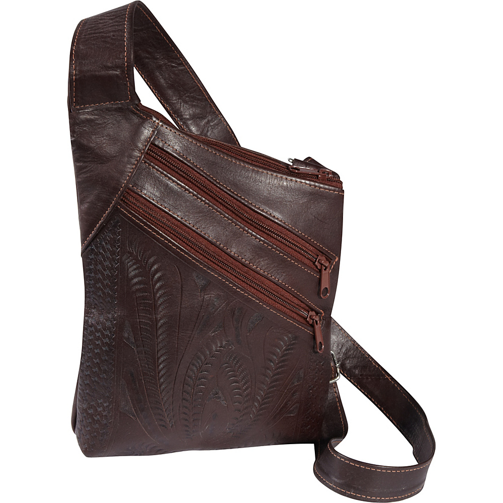 Ropin West Cross Over Crossbody Bag Brown Ropin West Leather Handbags