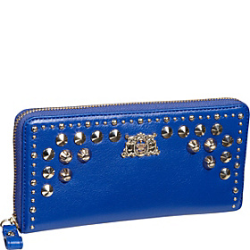 Tough Girl - Studded Leather $ Pieces (Boxed) Zip Wallet Bright Lapis