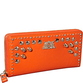 Tough Girl - Studded Leather $ Pieces (Boxed) Zip Wallet Fire Opal