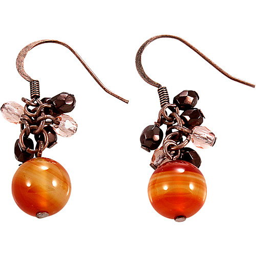 Alexa Starr Semi-precious Carnelian Earrings With A Cluster Of Faceted Bronze And Pink Accent Beads On Copper Metal Red Orange - Alexa Starr Jewelry
