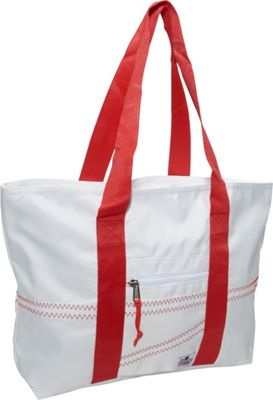SailorBags Sailcloth Medium Tote White with Red Straps - SailorBags Fabric Handbags
