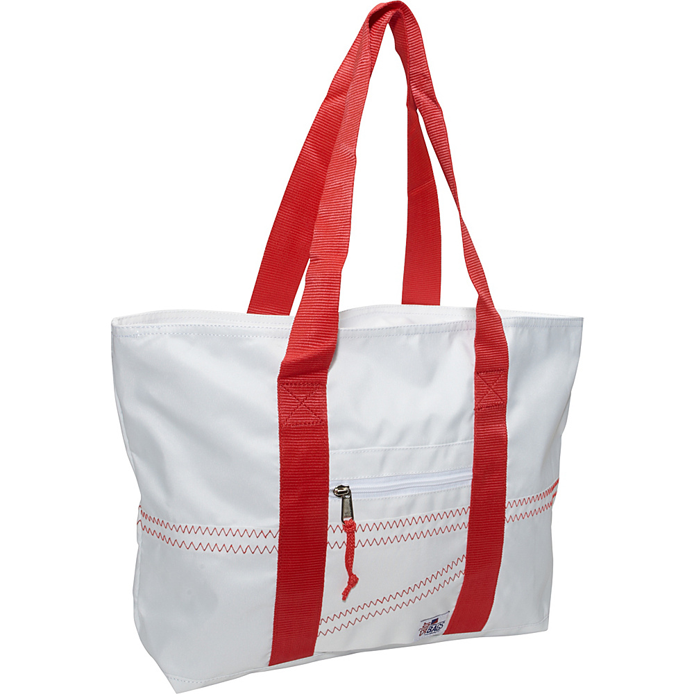 SailorBags Sailcloth Medium Tote White with Red Straps SailorBags Fabric Handbags