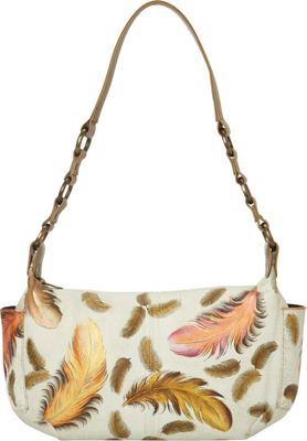 Anuschka East West with Side Pockets Shoulder Bag Floating Feathers Ivory - Anuschka Leather Handbags