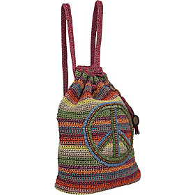 Casual Classics Large Backpack Gypsy Stripe With Peace Sign