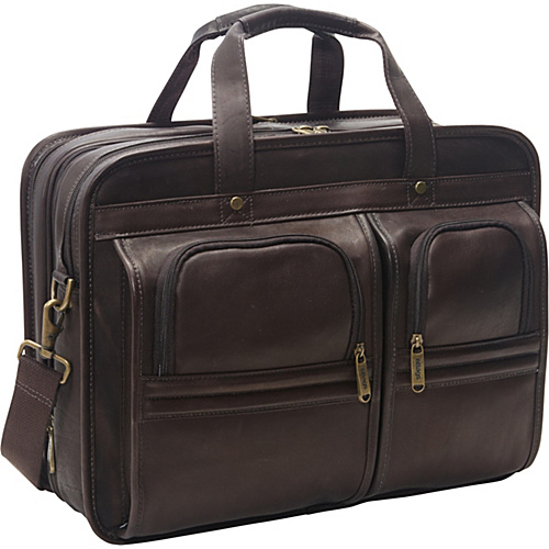 eBags Laptop Collection Wall Street Colombian Leather Expandable Laptop Brief Brown - eBags Laptop Collection Non-Wheeled Computer Cases