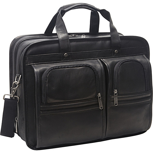 eBags Laptop Collection Wall Street Colombian Leather Expandable Laptop Brief Black - eBags Laptop Collection Non-Wheeled Computer Cases