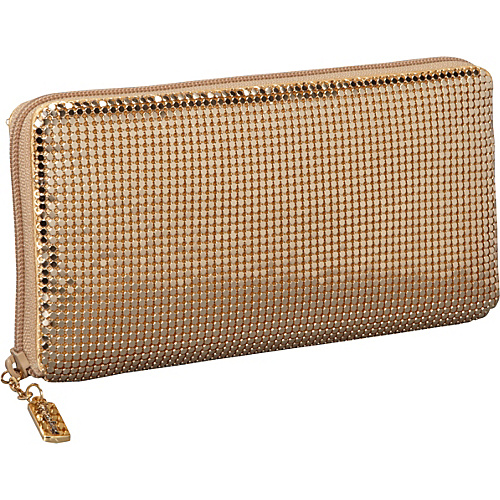 Whiting and Davis Clutch Wallet With Checkbook Insert Gold