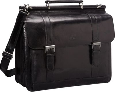Mancini Leather Goods Luxurious Italian Leather Laptop Briefcase Black - Mancini Leather Goods Non-Wheeled Business Cases